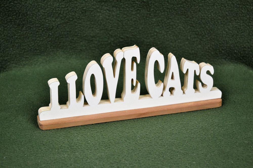 "Custom Saying Wood Scroll Cut Desk Shelf Mantle Decor Sign ""I Love Cats"" #Handmade #Americana"