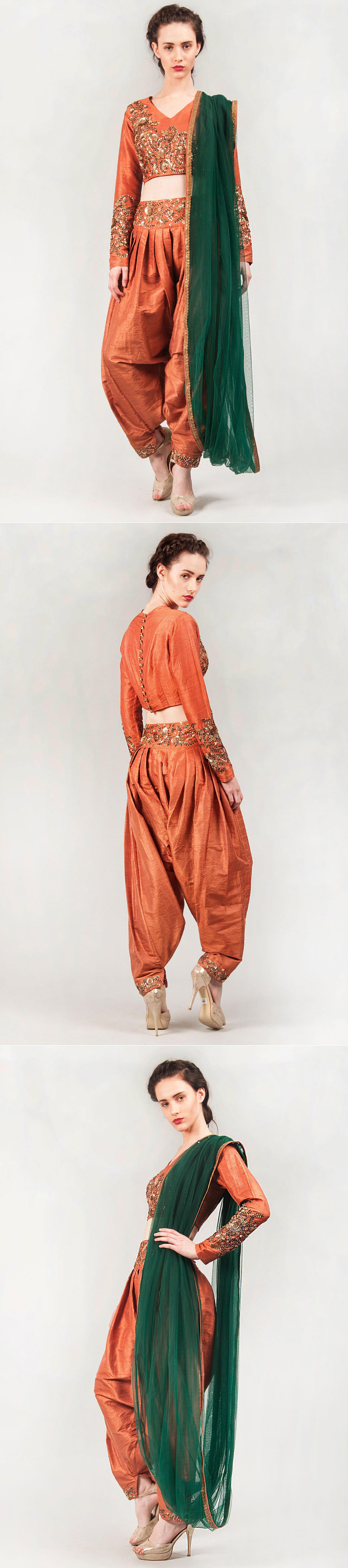 RIANTA'S Heavy embroidered drape dhoti set
