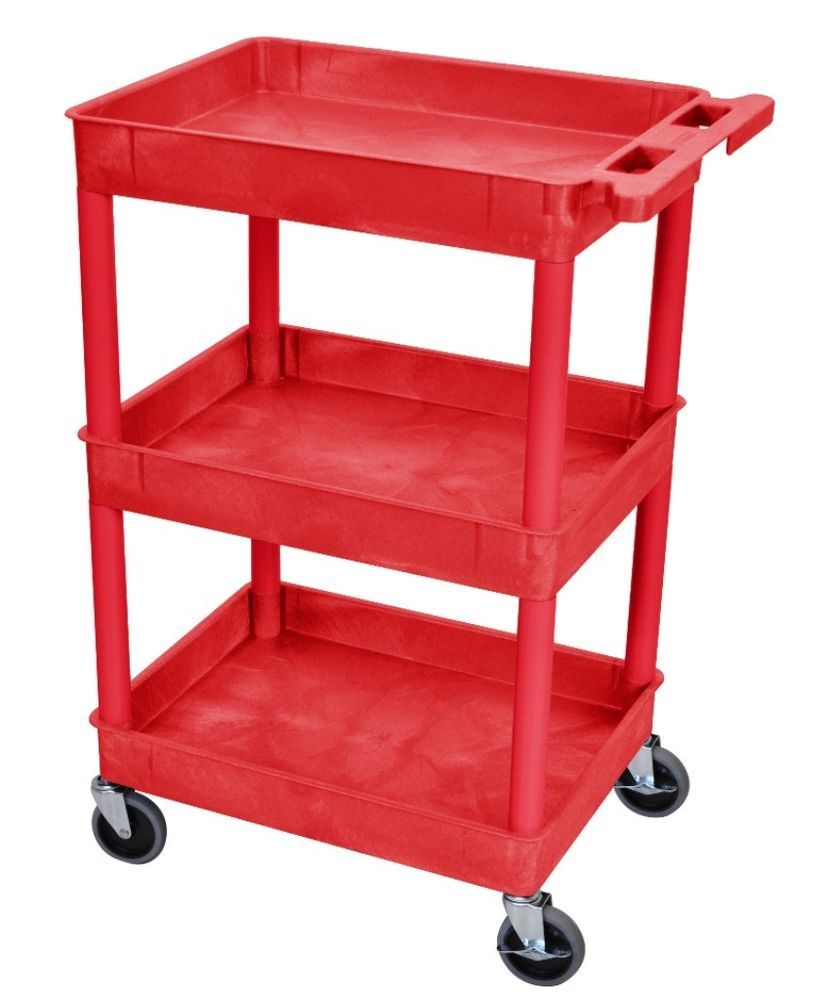 Wheeled Red Utility Cart With Storage Shelves Stylish Home Office Decor New