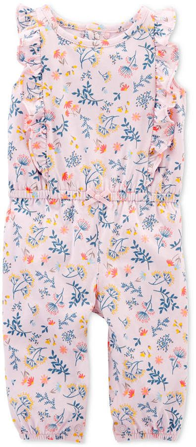 1d06bf4fb Carter's Baby Girls Floral-Print Ruffled Cotton Jumpsuit | Products ...