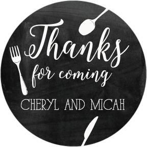 Chalked Cutlery - Personalized Gift Tag Stickers - Fine Moments - Black : Front