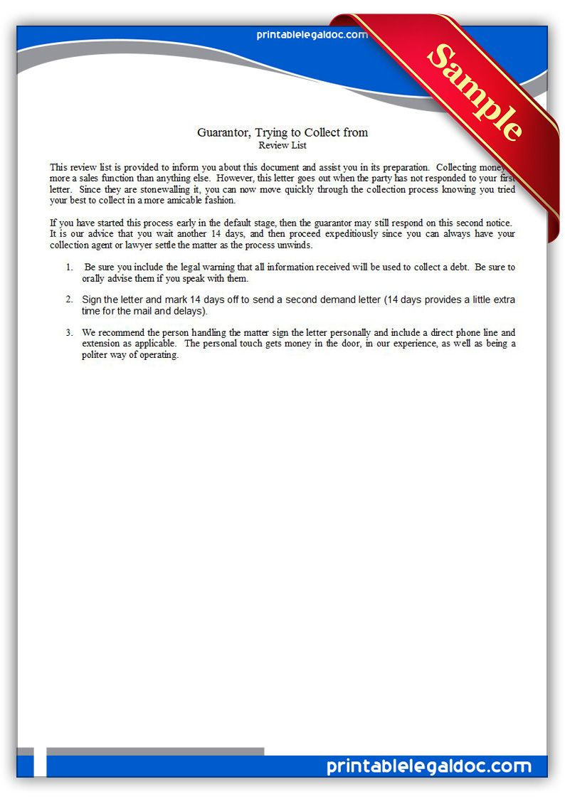 free printable guarantor  final letter trying to collect