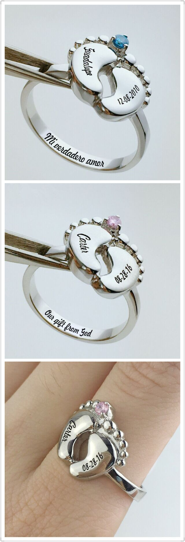 product baby hand personalised and original rings by footprint print silver foot on keyring touchonsilver touch
