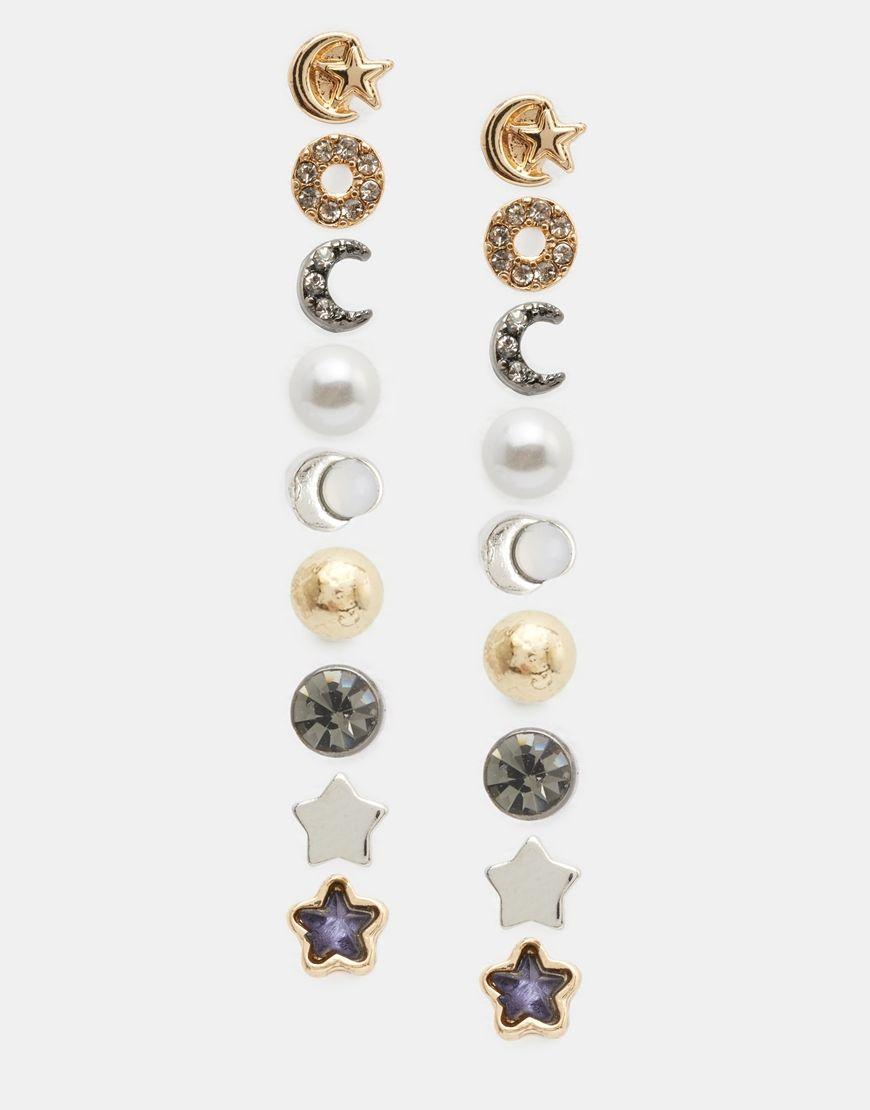 Image 1 - New Look - Lot de 9 boucles d'oreilles lune et étoiles