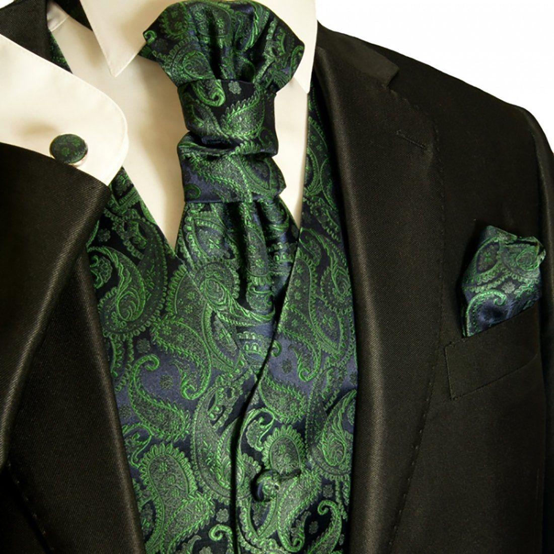 Green Formal Vest Tie and Pocket Square Set