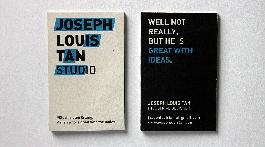 Business Card Design For Joseph Louis Tan A Creative And Witty Designer Whom
