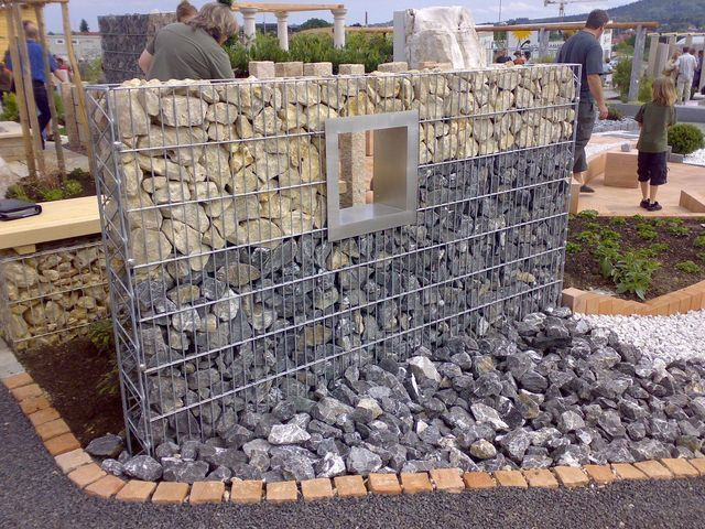 gabion fence ideas with stone fences pinterest. Black Bedroom Furniture Sets. Home Design Ideas
