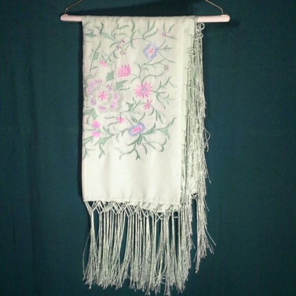 Silk scarf 100% Silk scarf.  Beautiful floral embroidery.  10 inch long fringes Approx. 43 x 39 inches not including fringes.  Never used. Newport News Accessories Scarves & Wraps