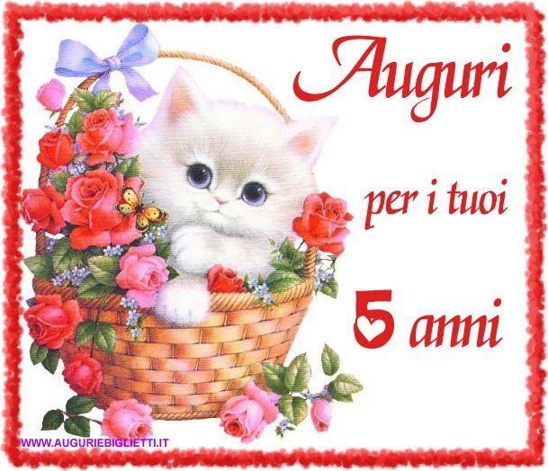 Auguri Buon Compleanno 5 Anni.Romantico Biglietto Di Auguri Per I 5 Anni Con Gatto E Fiori