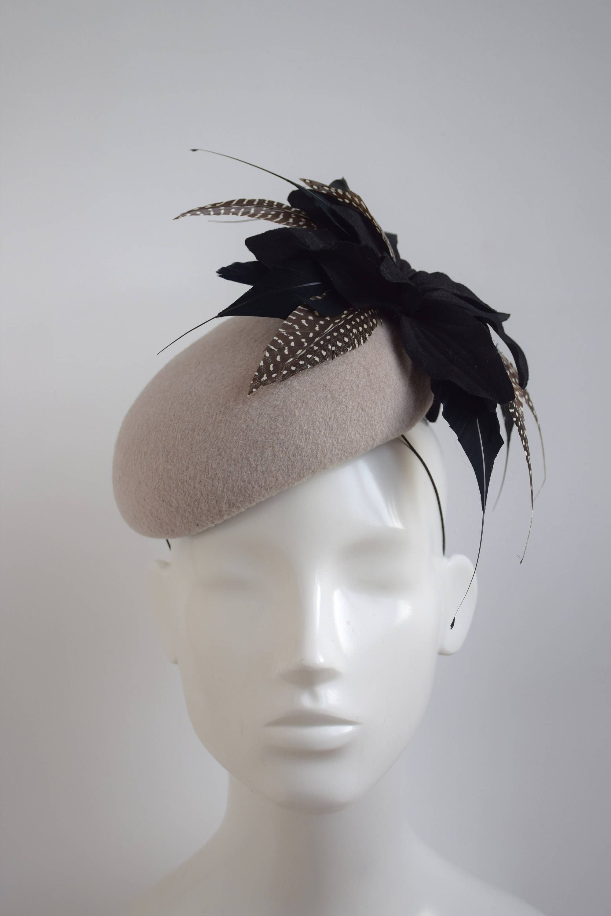 439af2a8234e84 Mink Cocktail Hat - Stone Black Fascinator- Taupe Black Winter Races Hat -  Mushroom Pillbox Hat - Winter Wedding Hat - Feather Fascinator by ...