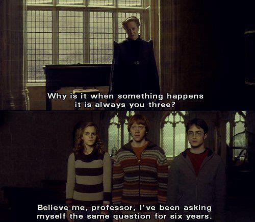 Dit is een citaat uit het boek. Hier wordt duidelijk dat de problemen altijd rond Harry, Hermeline en Ron draaien.