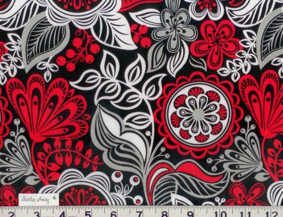 red white and black and gray floral fabric new 100 cotton flowers
