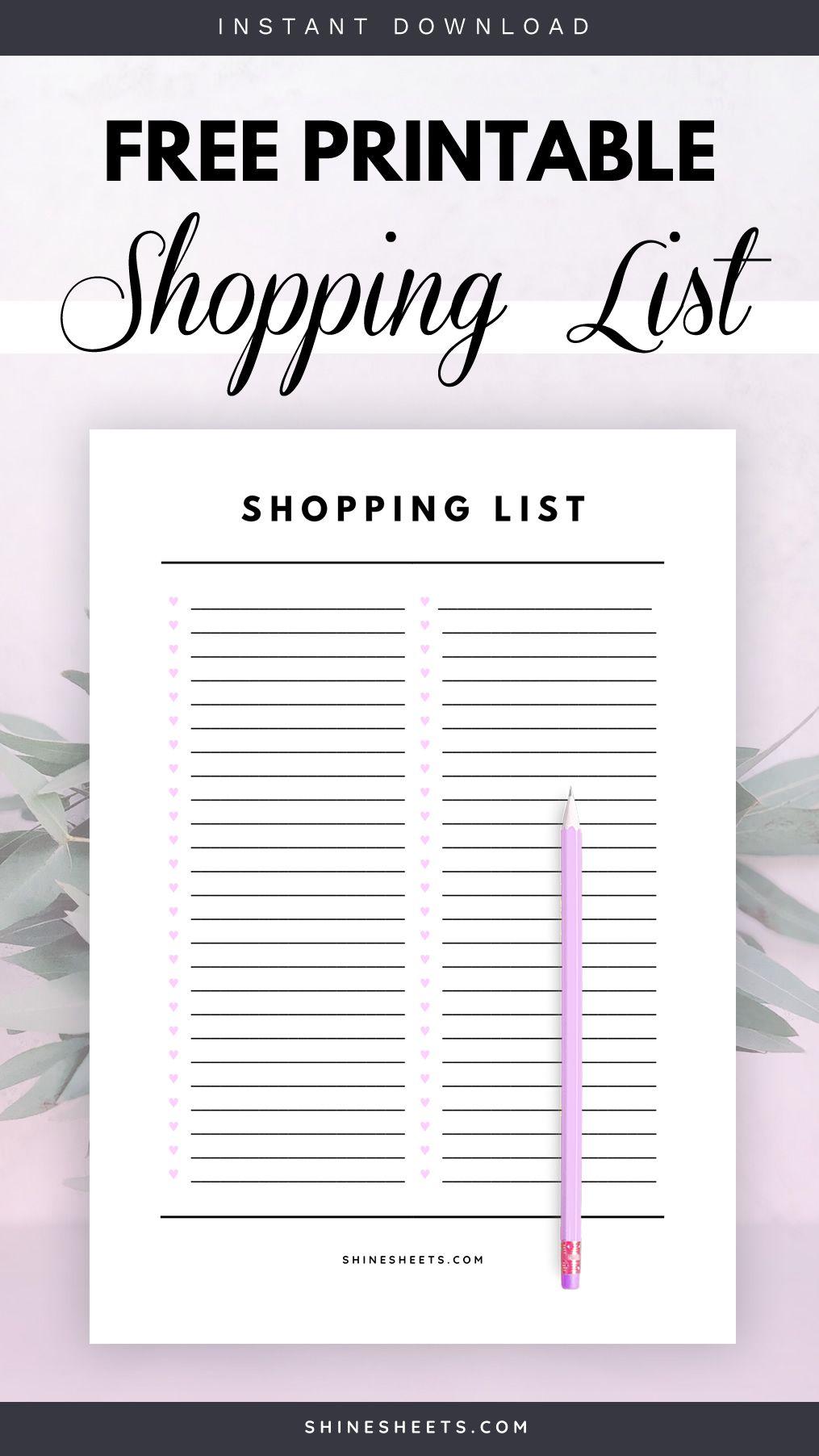 Free Shopping List Printable Printable Shopping List Printable