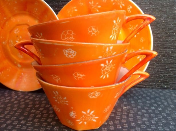 Vintage 1950's French Ceramic Coffee Cups In Orange Set Of Four by Onmykitchentable Vintage on Gourmly