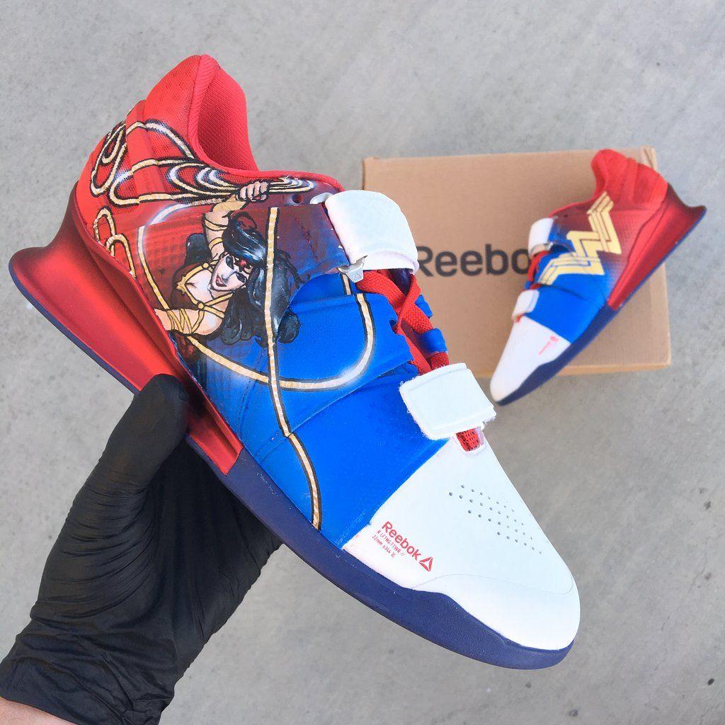 1201e1745c24ee Cutsom Hand Painted Wonder Woman Reebok Legacy Lifters
