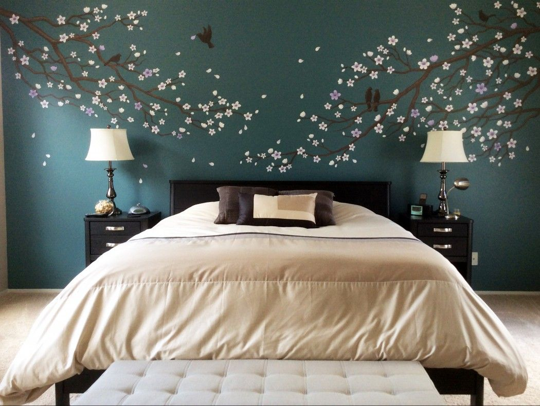 Cherry Blossom Mural Japanese Style Bedroom Wall Murals Bedroom Bedroom False Ceiling Design