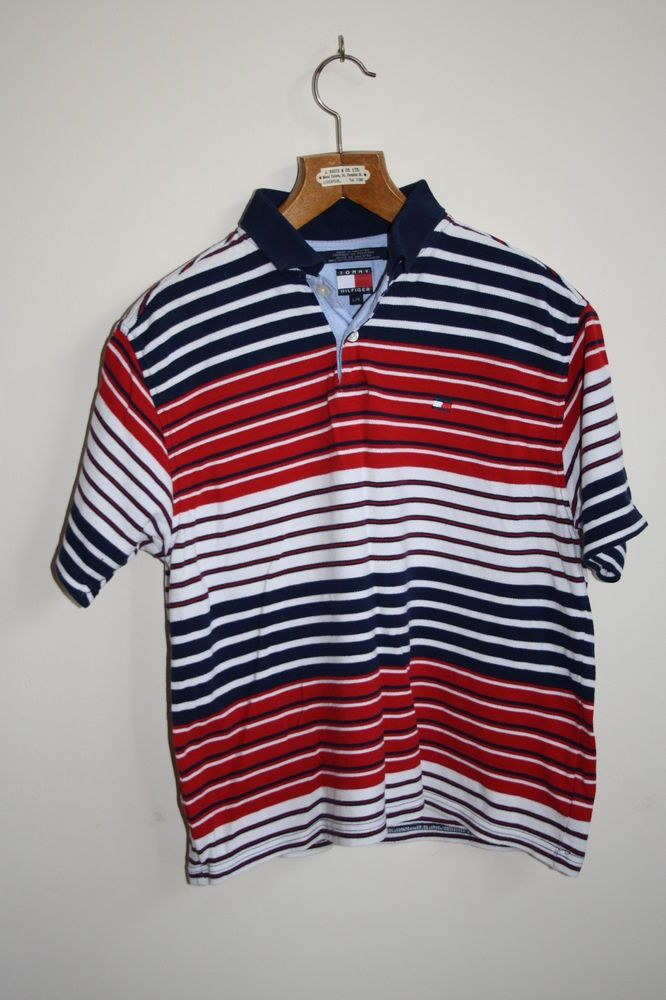 a92c0405 Tommy Hilfiger Polo Shirt Size L / G White Red Blue Striped Fashion Designer