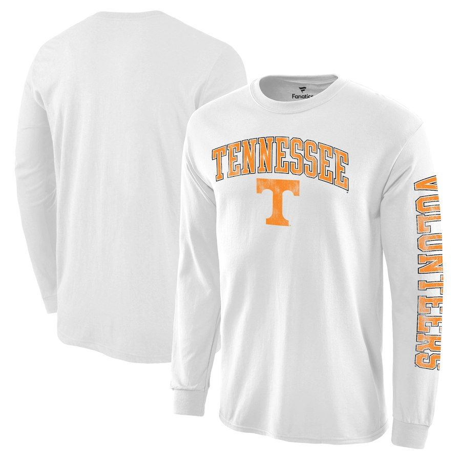 uk availability 7216c 0b172 Tennessee Volunteers Distressed Arch Over Logo Long Sleeve Hit T-Shirt -  White