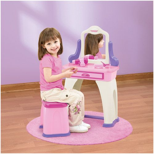 American Plastic Toys My Very Own Kids Vanity With 7 Accessories Walmart Com Kids Vanity Plastic Toys Vanity Table Set