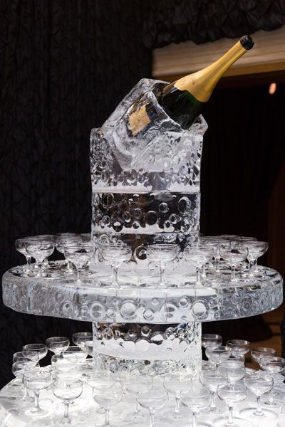 Ice Sculpture Champagne Tower A Must At Lavish Wedding