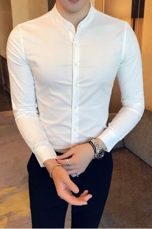Gentlemen England Style Slim Fit Long Sleeve Mint Green Dress Shirt Befashionova Cotton Shirts For Men Mens Floral Dress Shirts New Mens Fashion