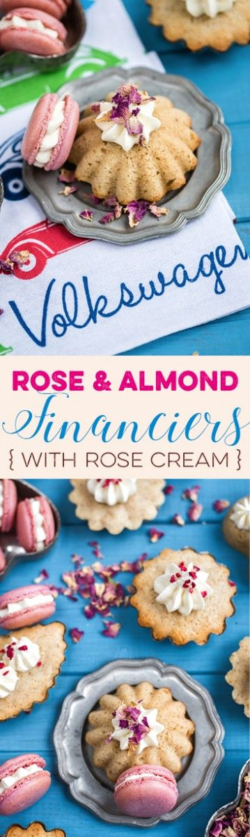 """Rose and almond financiers with rose cream. Visit the collaborative board """"Food Bloggers for Volkswagen"""" for more inspiring recipes and ideas. https://de.pinterest.com/volkswagen/food-bloggers-for-volkswagen/"""