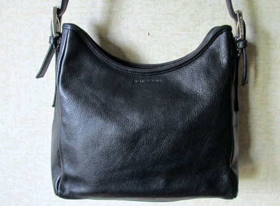 Black Leather Shoulder Bag bucket bag long strap satchel purse ...