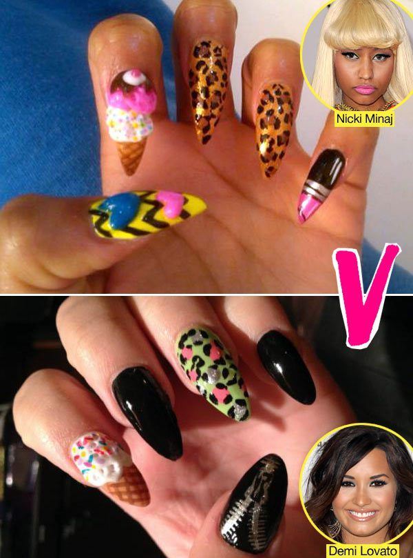 Demi Lovato Vs. Nicki Minaj: Matching Ice Cream Cone Nails ...