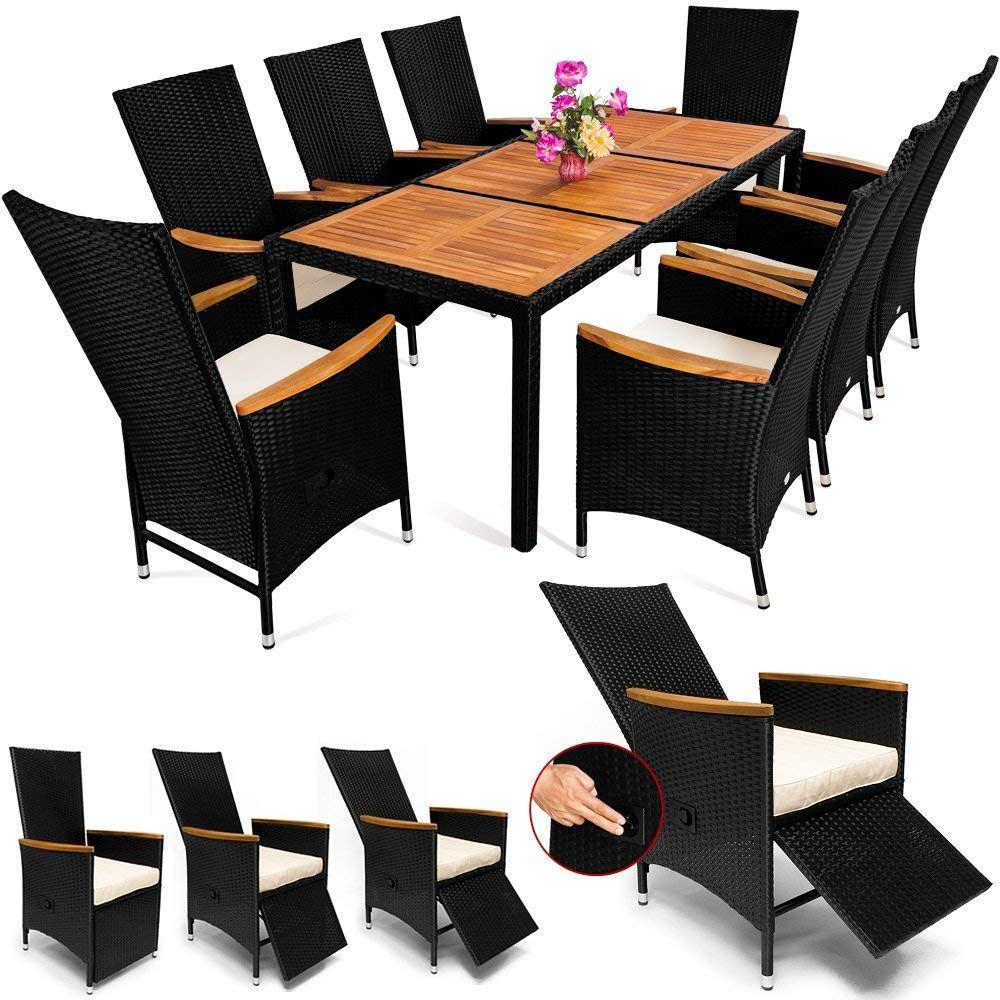 Poly Rattan Sitzgruppe 8 1 Schwarz 7 Cm Dicke Sitzauflagen