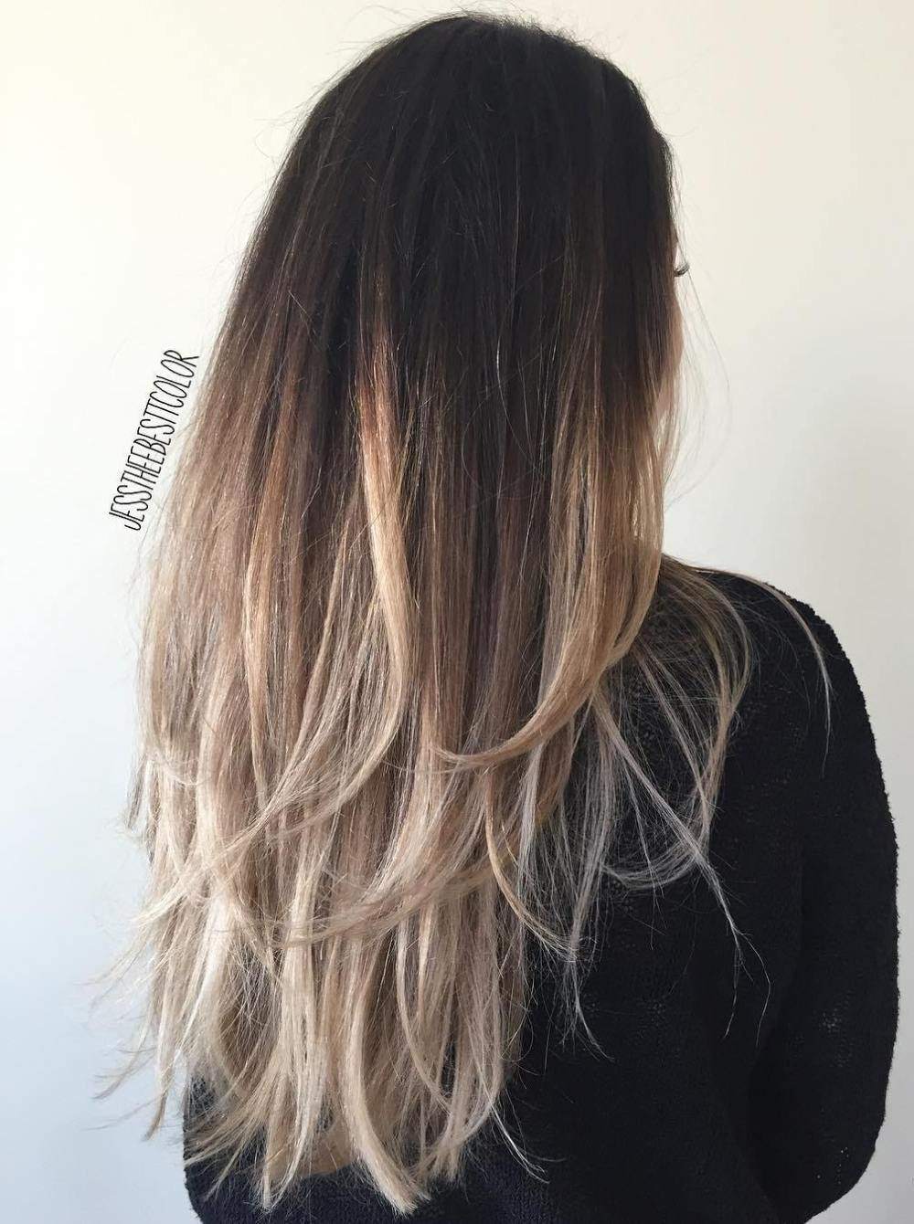 Black To Ash Blonde Ombre Hair Dark Ombre Hair Ash Blonde Ombre Hair Long Layered Hair