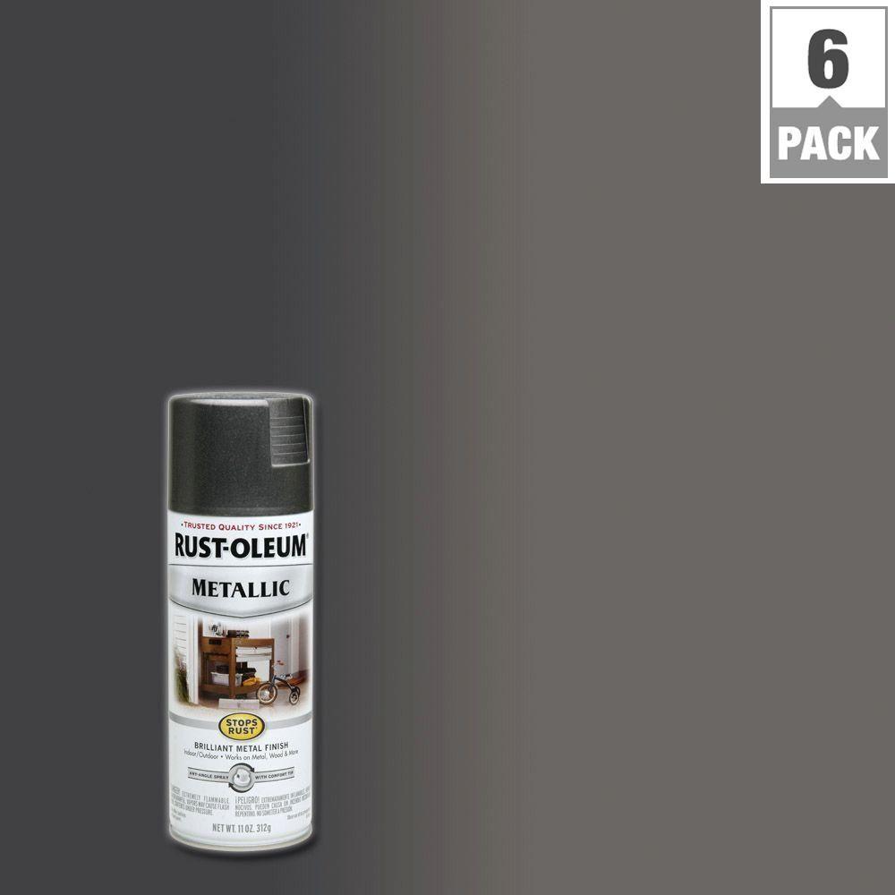 Metallic charcoal grey protective enamel spray paint 6 pack