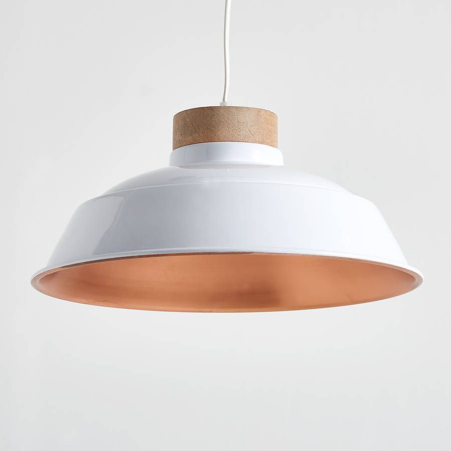 Oslo White And Copper Pendant Light By Horsfall Wright Copper Pendant Lights Pendant Light White Pendant Light