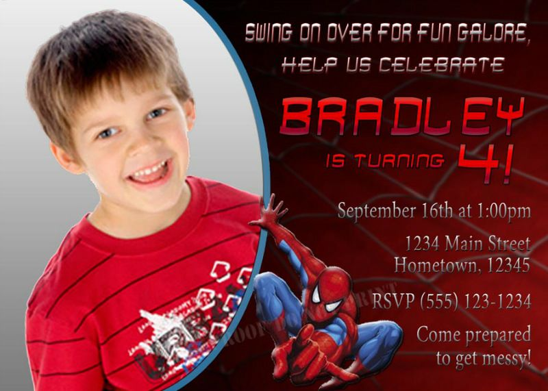 Personalized spiderman birthday photo party invitation need party personalized spiderman birthday photo party invitation need party invitations fast with our diy printing option youll have your files today filmwisefo