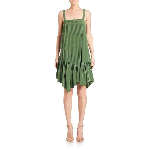 Tibi Heavy Silk Pleated Dress 630 Liked On Polyvore Featuring Dresses Arel