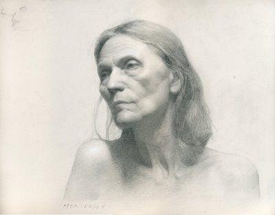 """Gregory Mortenson, """"Ana Nina"""", graphite and white chalk, portrait art"""