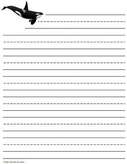 jumping killer whale letterhead paper lined kids whales writing - Papers For Kids