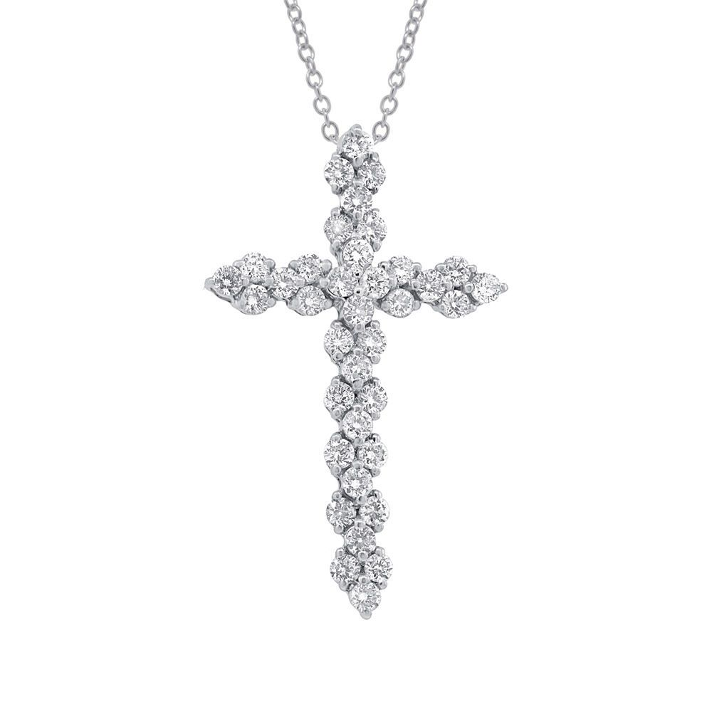 Womens 114ct 18k white gold brilliant round diamond cross pendant womens 114ct 18k white gold brilliant round diamond cross pendant necklace aloadofball Image collections