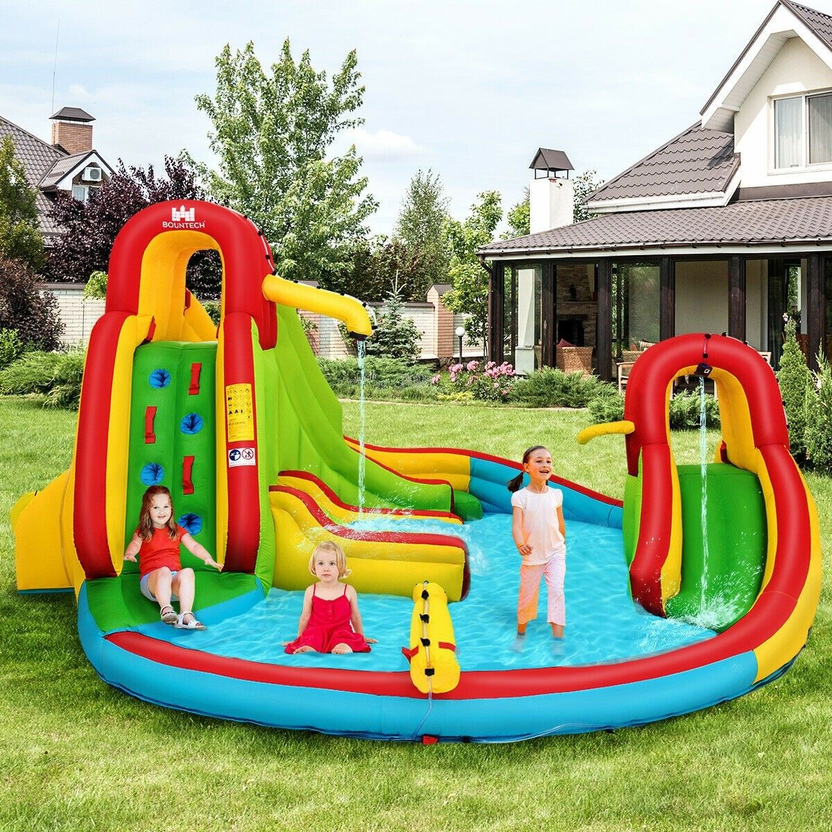Kids Inflatable Water Slide Bounce House With Climbing Wall And Pool In 2021 Inflatable Water Slide Water Slide Bounce House Inflatable Water Park