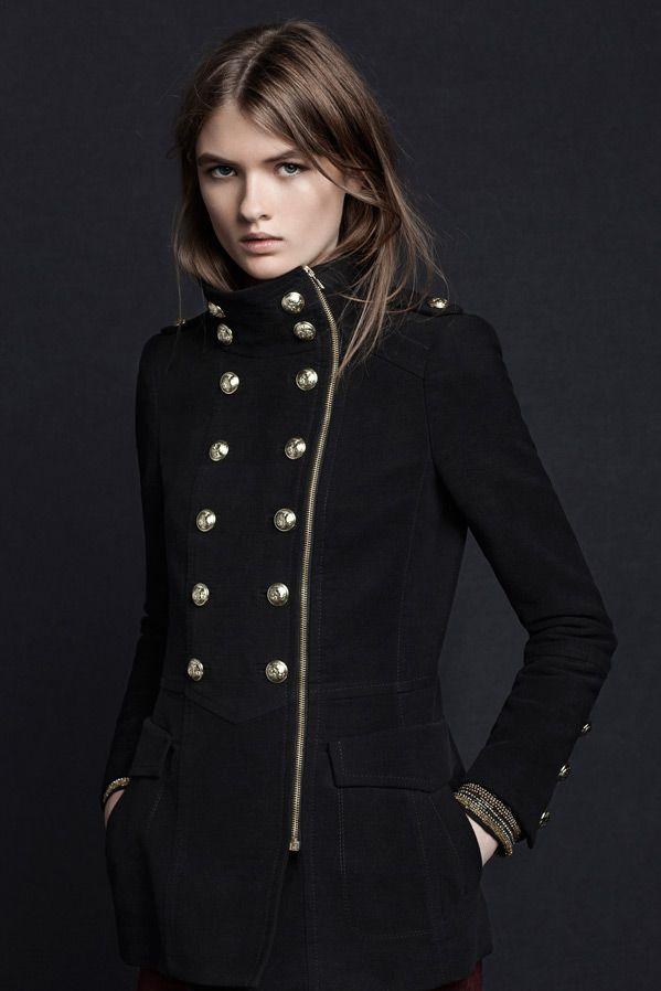 f6d7ecff Velveteen Military 3/4 Length Coat. Zara.   I'd Wear This... in 2019 ...