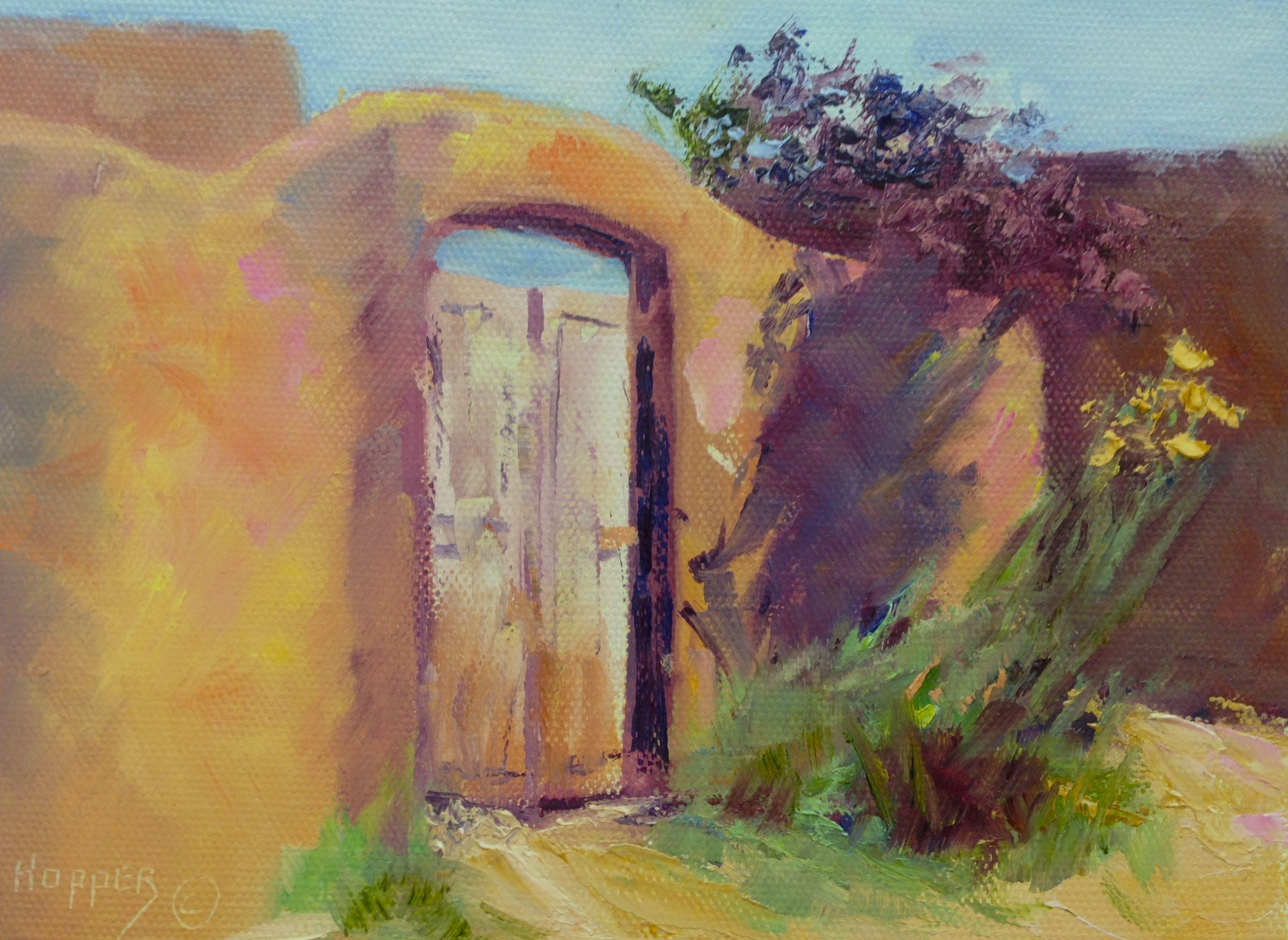 Old Wooden Gate In An Adobe Wall Santa Fe Nm Little Gem