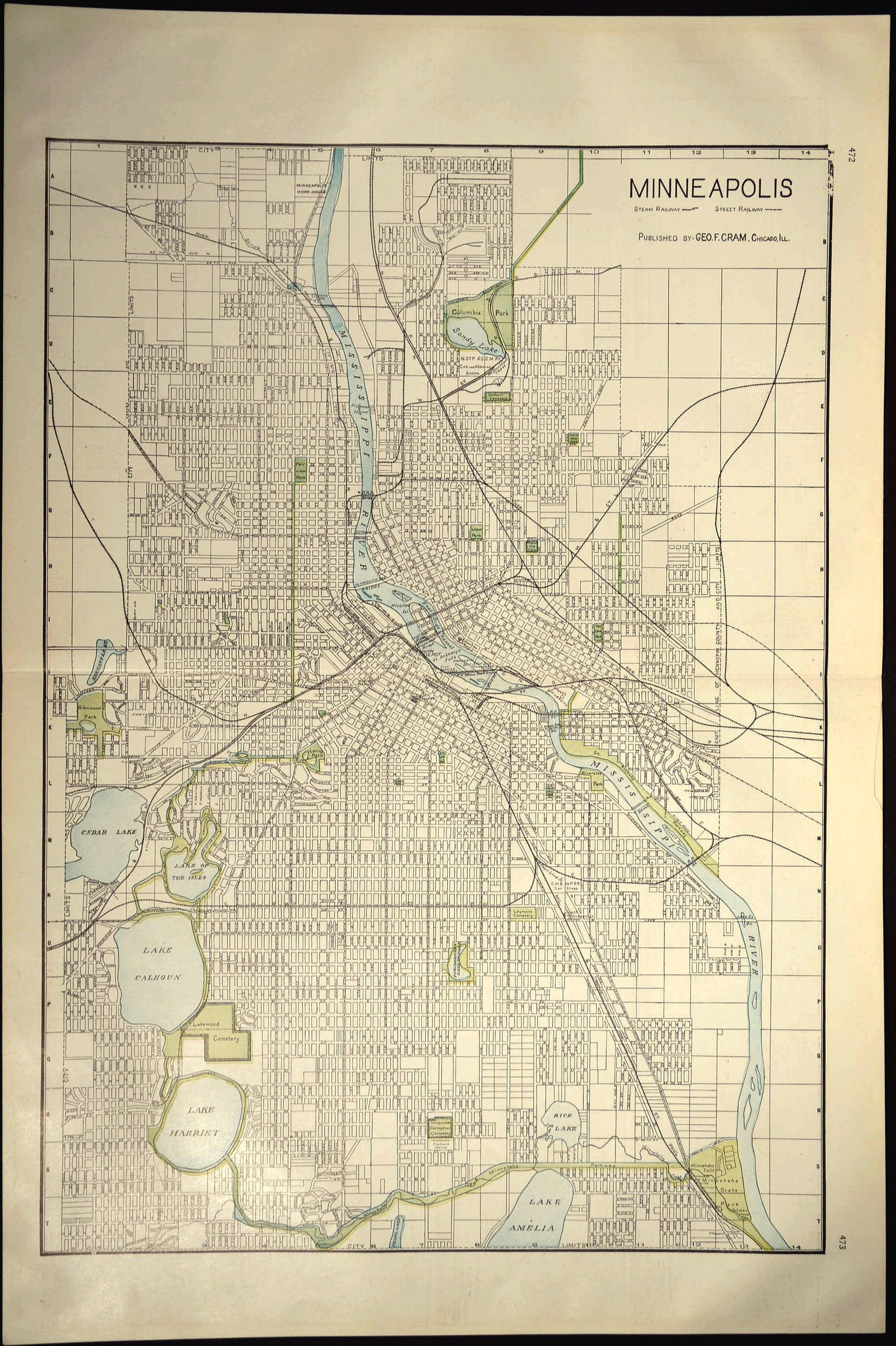 LARGE Minneapolis Map Of Minneapolis Street Map Antique Map Wall - Vintage minneapolis map