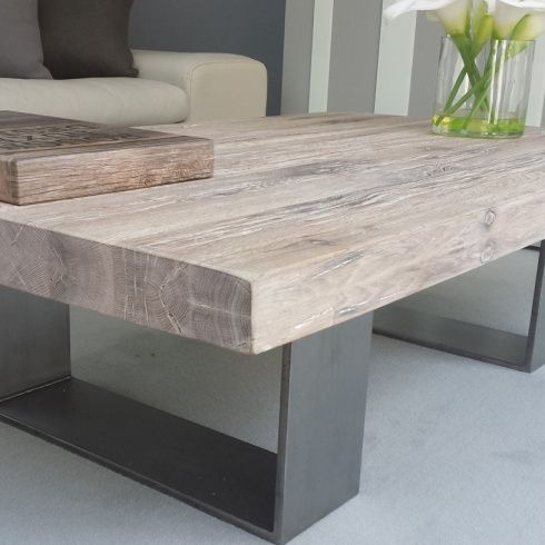 Industrial Chic Style Reclaimed Custom Coffee Table 036 Steel and