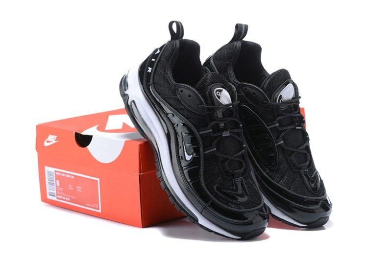 e9aedf0dcbc49 High Quality Nike Air Max 98 Men s-Women s Metallic Black Black-White  Fashion Sneakers 640744 010