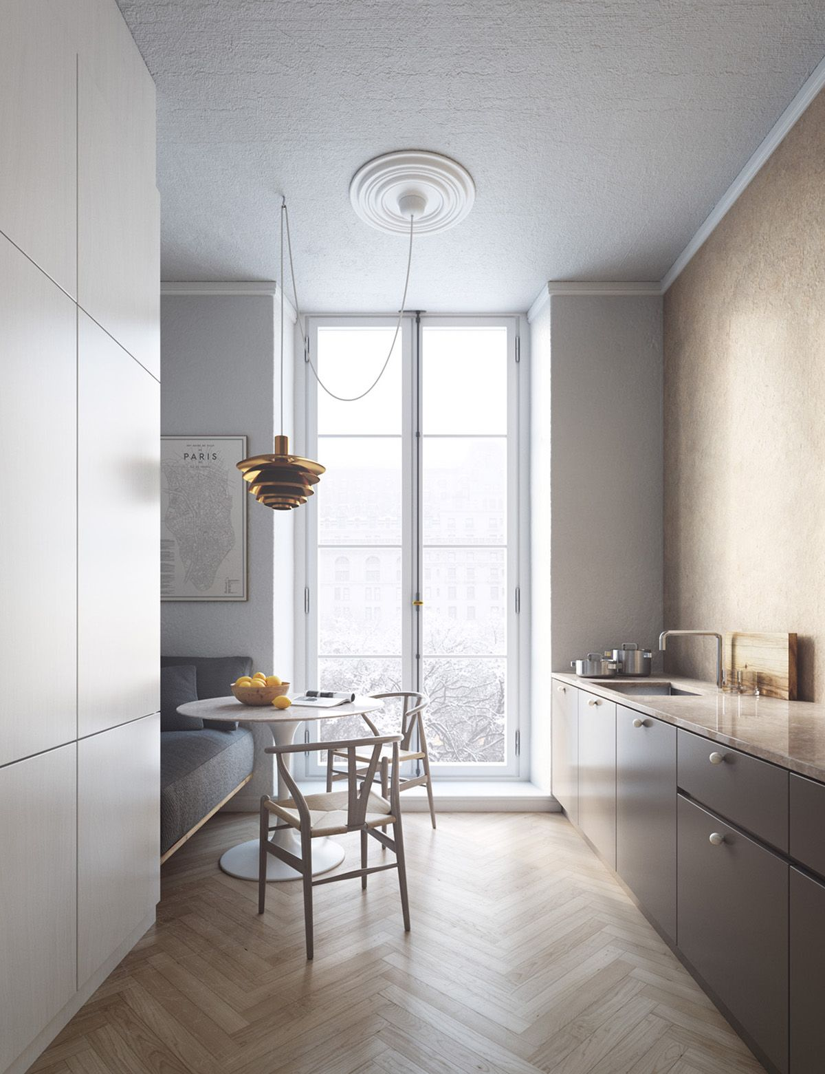 Non white streamlined kitchen dedicated dining space floors
