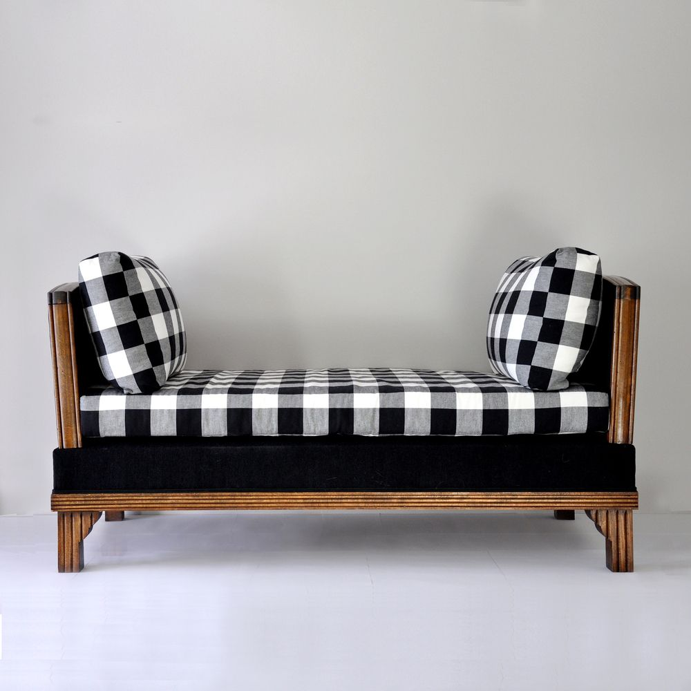 Best Reupholstered 1930 S Day Bed In Black And White Plaid 400 x 300