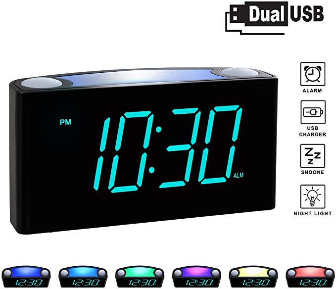 Amazon Com Rocam Digital Alarm Clock For Bedrooms Large 6 5 Led Display With Dimmer Snooze 7 Color Night Light Eas Digital Alarm Clock Alarm Clock Alarm