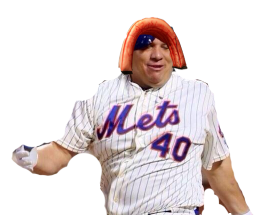 Bartolo Colon with a giant half colon on his head. Love mlb.