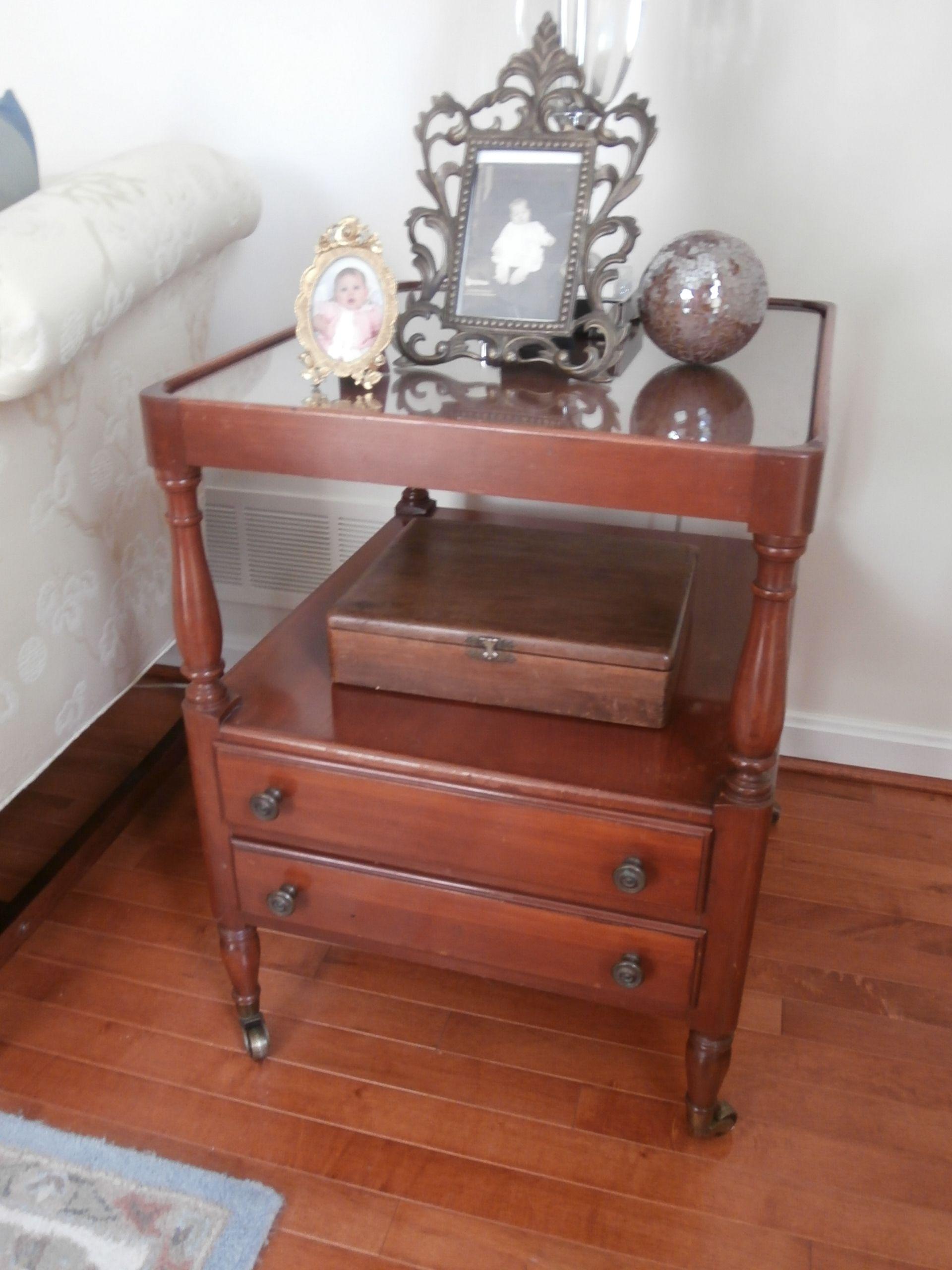 Willett Furniture My Cherry Endtable (found Through Craigslist) With  Willett Walnut Poker Case (
