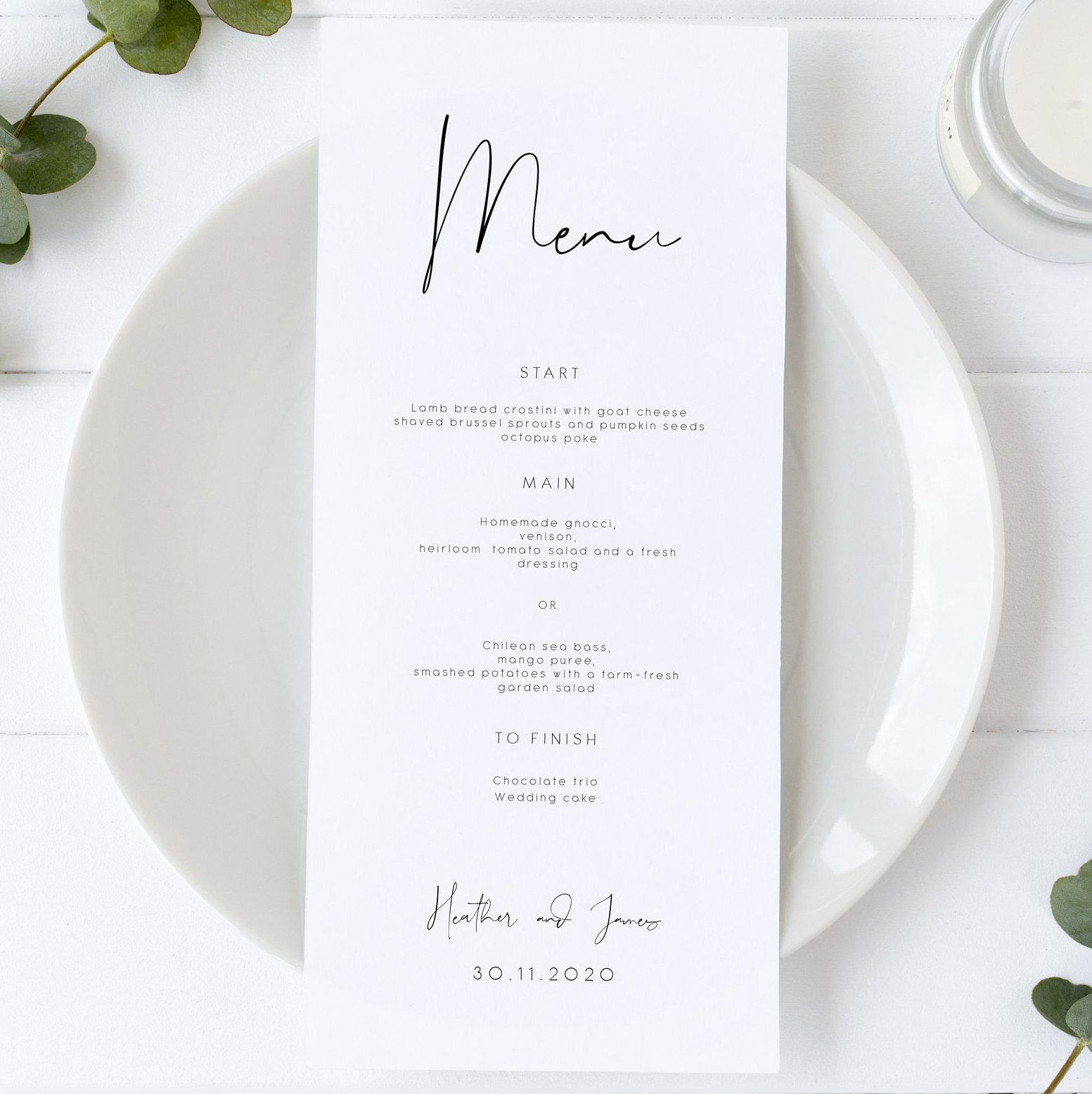 Minimal Wedding Menu Template, Minimalist Wedding Menu, Modern Wedding Menu, Let's Eat Menu, Templett Wedding Menu 120