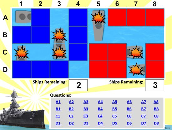 42 question  - sample battleship game
